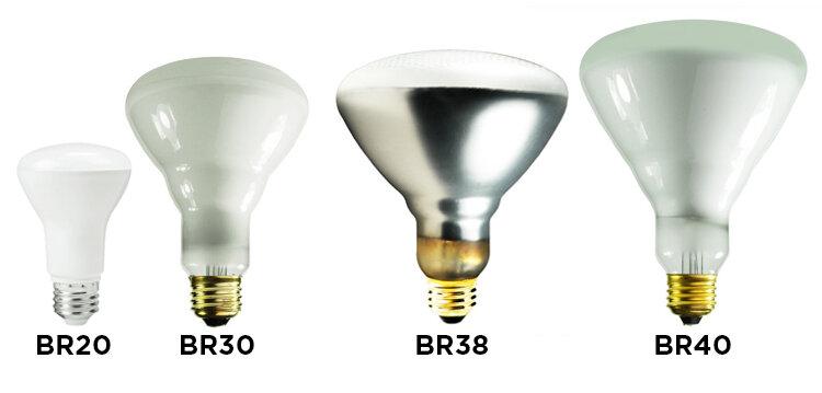 Las bombillas BR se utilizan para todo, desde focos como la BR40 o lámparas de calor IR como la BR38. La mayoría de las bombillas BR tienen el cuello abultado con la excepción de los LED y las bombillas CFL como esta BR20.